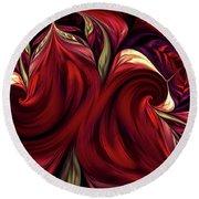 Round Beach Towel featuring the digital art Scarlet Red by Deborah Benoit