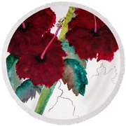 Scarlet Red Round Beach Towel
