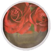 Round Beach Towel featuring the photograph Scarlet Roses by Lyn Randle