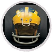 Round Beach Towel featuring the photograph Scarred 1970s Wolverine Helmet by Michigan Helmet