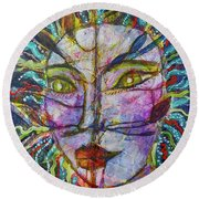 Scarred Beauty Round Beach Towel