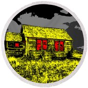 Scary Farmhouse Round Beach Towel