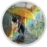 Round Beach Towel featuring the photograph Scary Graffiti by LemonArt Photography
