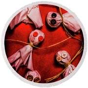 Scary Halloween Lollipop Ghosts Round Beach Towel