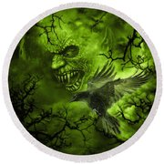 Scary Moon Round Beach Towel