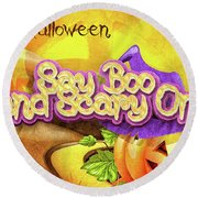Round Beach Towel featuring the digital art Scary On by Mo T