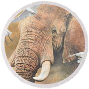 Round Beach Towel featuring the painting Scatter by Alan M Hunt