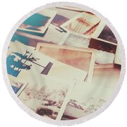 Scattered Collage Of Old Film Photography Round Beach Towel