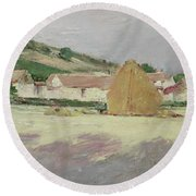 Scene At Giverny, 1890 Round Beach Towel