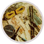 Scene From A Fifties Craft Room Round Beach Towel