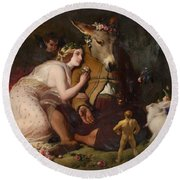 Scene From A Midsummer Night's Dream - Titania And Bottom Round Beach Towel