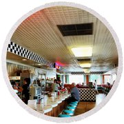 Scenes From A Diner Round Beach Towel