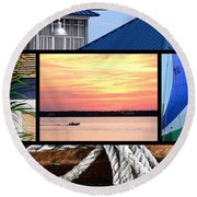 Scenes From The Bay Round Beach Towel