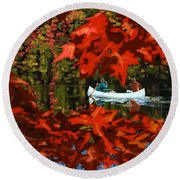 Scenic Autumn Canoe  Round Beach Towel
