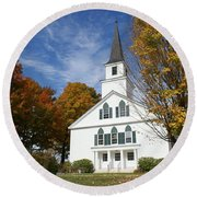 Scenic Church In Autumn Round Beach Towel by Lois Lepisto