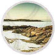 Scenic Coastal Dusk Round Beach Towel