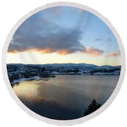 Round Beach Towel featuring the photograph Scenic Lake Country by Will Borden