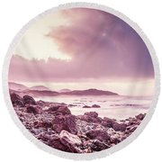 Scenic Seaside Sunrise Round Beach Towel