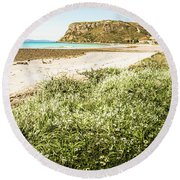 Scenic Stony Seashore Round Beach Towel