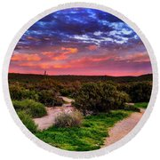 Round Beach Towel featuring the photograph Scenic Trailhead by Anthony Citro