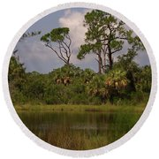 Scenic View Of Trees And A Pond Round Beach Towel