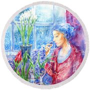 Scent Of Hyacinths Round Beach Towel