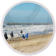 Scheveningen Beach Netherlands Round Beach Towel