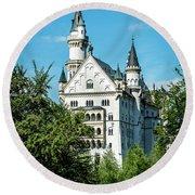 Round Beach Towel featuring the photograph Schloss Neuschwantstein by David Morefield