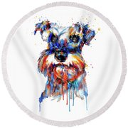 Schnauzer Head Round Beach Towel