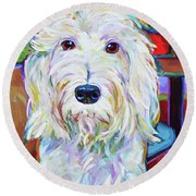 Schnoodle Round Beach Towel by Robert Phelps