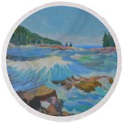 Round Beach Towel featuring the painting Schoodic Inlet by Francine Frank