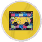 Round Beach Towel featuring the painting School Bus Quilt by Jim Harris