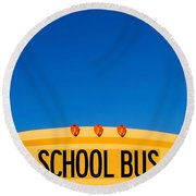 School Bus Top Round Beach Towel
