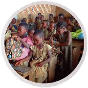 School Children In Class In Togo Round Beach Towel