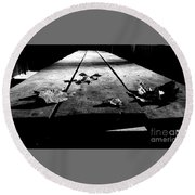 Schooled In Thought - Black And White Round Beach Towel