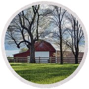 Round Beach Towel featuring the photograph Schooler Road Barn by Cricket Hackmann