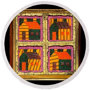 Round Beach Towel featuring the painting Schoolhouse Quilted Window by Jim Harris