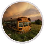 Round Beach Towel featuring the photograph School's Out  by Aaron J Groen