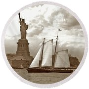 Schooner At Statue Of Liberty Twurl Round Beach Towel