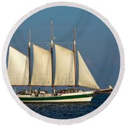 Schooner By Fort Sumter Round Beach Towel