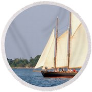 Round Beach Towel featuring the photograph Schooner Cruise, Casco Bay, South Portland, Maine  -86696 by John Bald