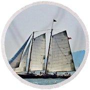 Schooner On New York Harbor No. 3 Round Beach Towel by Sandy Taylor