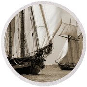 Schooner Pride Of Baltimore And Lynx Round Beach Towel
