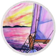 Round Beach Towel featuring the painting Sailboat Sunset Cruise On Schooner Surprise  by Carlin Blahnik CarlinArtWatercolor
