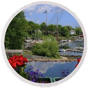 Schooners And Flowers, Camden, Maine Round Beach Towel