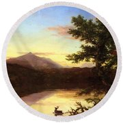 Schroon Lake 1840 Round Beach Towel