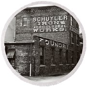 Round Beach Towel featuring the photograph Schuyler Iron Building Black And White by Trina Ansel