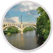 Schuylkill River At The Manayunk Bridge - Philadelphia Round Beach Towel by Bill Cannon