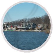 Round Beach Towel featuring the photograph Schuylkill River - Boathouse Row In Philadelphia by Bill Cannon