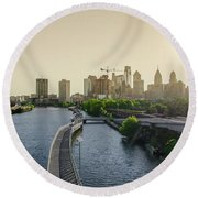 Round Beach Towel featuring the photograph Schuylkill River Walk At Sunrise by Bill Cannon